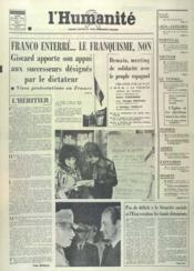 Humanite (L') N°9725 du 24/11/1975 - Couverture - Format classique