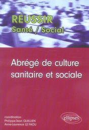 Abrege De Culture Sanitaire Et Sociale - Intérieur - Format classique