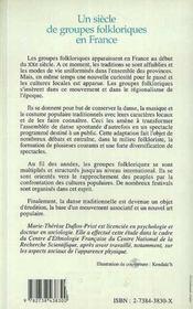 Un siècle de groupes folkloriques en France - 4ème de couverture - Format classique