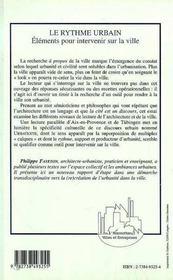 Le Rythme Urbain ; Elements Pour Intervenir Sur La Ville - 4ème de couverture - Format classique