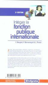 Integrer la fonction publique internationale - 4ème de couverture - Format classique