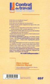 Contrat de travail -Mode d'emploi - 4ème de couverture - Format classique