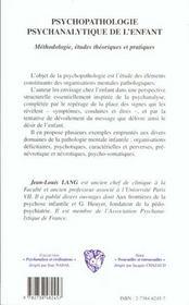 Psychopatologie Psychanalytique De L'Enfant - 4ème de couverture - Format classique