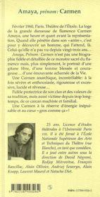Amaya ; Prenom Carmen - 4ème de couverture - Format classique