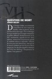 Question de mort : le sphinx - 4ème de couverture - Format classique