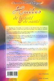 Huiles de beauté et de santé - 4ème de couverture - Format classique