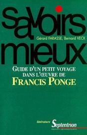 Guide d'un petit voyage dans l'oeuvre de Francis Ponge - Couverture - Format classique