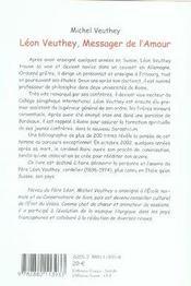 Leon Veuthey, Messager De L'Amour - 4ème de couverture - Format classique