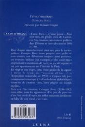 Pérec/rinations - 4ème de couverture - Format classique