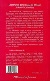 Les Femmes Dans La Prise De Decision En France Et En Europe - 4ème de couverture - Format classique