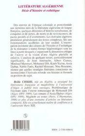 Litterature Algerienne ; Desir D'Histoire Et Esthetique - 4ème de couverture - Format classique