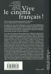 La petite anthologie t.2 ; vive le cinéma français ! - 4ème de couverture - Format classique