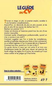 Le guide du CV (2e édition) - 4ème de couverture - Format classique