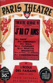 PARIS THEATRE N° 5 - J'AI DIX-SEPT ANS, pièce en 4 actes de PAUL VANDENBERGHE - L'ECOLE DES FAISANS, comédie en 3 actes de PAUL NIVOIX - Couverture - Format classique