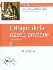 Critique De La Raison Pratique Les Principes Kant - Intérieur - Format classique