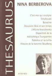 Thesaurus nina berberova. ecrits biographiques et autobiographiques - Intérieur - Format classique