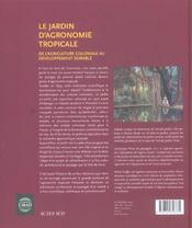 Le Jardin D'Agronomie Tropicale ; De L'Agriculture Coloniale Au Developpement Durable - 4ème de couverture - Format classique