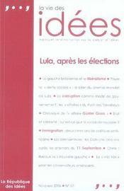 La vie des idées ; lula, après les élections - Intérieur - Format classique