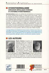Hydrothermalisme - 4ème de couverture - Format classique