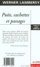 Puits, Cachettes Et Passages - 4ème de couverture - Format classique