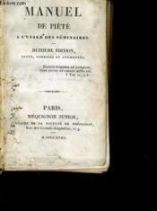 Manuel De Piete A L'Usage Des Seminaires - Couverture - Format classique