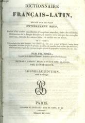 Dictionnaire Francais-Latin - Couverture - Format classique