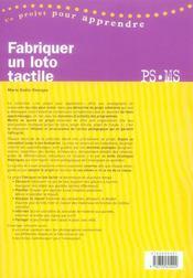 Fabriquer un loto tactile ; petite et moyenne sections - 4ème de couverture - Format classique