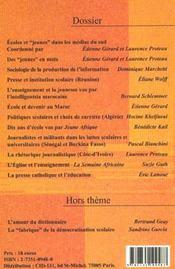 Cahiers de la recherche t.1 ; ecoles et jeunes dans les medias du sud ; edition2002 - 4ème de couverture - Format classique