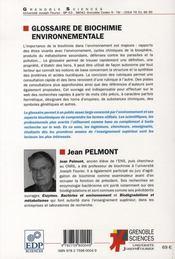 Glossaire de biochimie environnementale - 4ème de couverture - Format classique