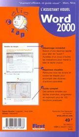 Clic Zap ; Word 2000 - 4ème de couverture - Format classique