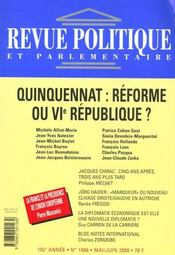 Revue Politique Et Parlementaire T.1006; Quinquennat : Reforme Ou Vi Republique - Intérieur - Format classique
