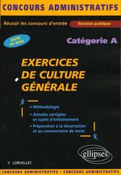Exercices De Culture Generale Categorie A Ecrit Et Oral Fonction Publique - Intérieur - Format classique