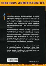 Exercices De Culture Generale Categorie A Ecrit Et Oral Fonction Publique - 4ème de couverture - Format classique