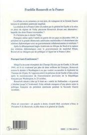 Franklin Roosevelt Et La France, 1939-1945 : La Diplomatie De L'Entetement - 4ème de couverture - Format classique