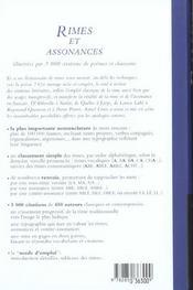 Dictionnaire Des Rimes Et Assonances - 4ème de couverture - Format classique