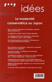 La vie des idées ; la modernité conservatrice au japon - 4ème de couverture - Format classique