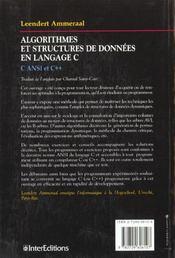 Algorithmes et structures de données en langage C. C ANSI et C++ - 4ème de couverture - Format classique