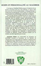 Oedipe Et Personnalite Au Maghreb - 4ème de couverture - Format classique