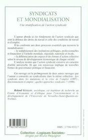 Syndicats Et Mondialisation ; Une Stratification De L'Action Syndicale - 4ème de couverture - Format classique