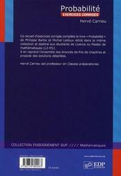 Exercices de probabilité - 4ème de couverture - Format classique