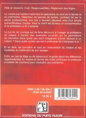 Guide des relations entre le notaire et ses clients ; rôle, coût, réglement des litiges... - 4ème de couverture - Format classique