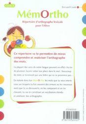Mémortho ; fichier d'orthographe lexicable ; cycle 3 ; répertoire de l'élève - 4ème de couverture - Format classique