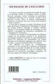 Sociologie de l'exclusion - 4ème de couverture - Format classique