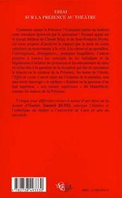 Essai Sur La Presence Au Theatre - 4ème de couverture - Format classique