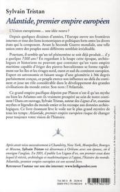 L'atlantide, premier empire européen - 4ème de couverture - Format classique