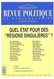 Revue Politique Et Parlementaire N.1010 ; Quel Etat Pour Des