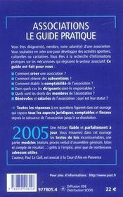 Associations, Le Guide Pratique 2005 - 4ème de couverture - Format classique