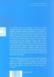 Nouvelles Lettres Sur L'Education Esthetique De L'Homme - 4ème de couverture - Format classique
