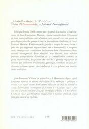 Notes d'Humanité(s) ; journal d'un effronté - 4ème de couverture - Format classique