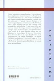 Histoire De La Langue Francaise - 4ème de couverture - Format classique